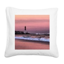 Sunset at the lighthouse Square Canvas Pillow