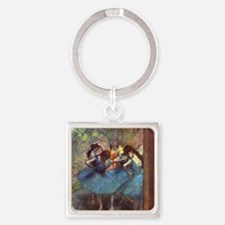Dancers in Blue Square Keychain