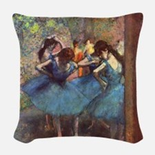 Dancers in Blue Woven Throw Pillow