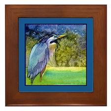 Beautiful Blue Heron Framed Tile