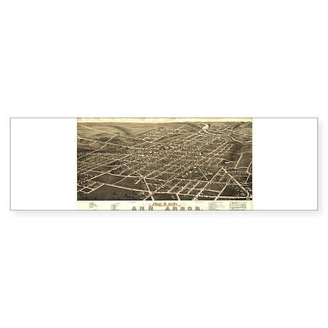 Antique Map of Ann Arbor, MI. Bumper Sticker