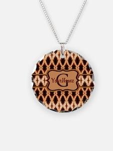 Leopard Print Monogram Necklace
