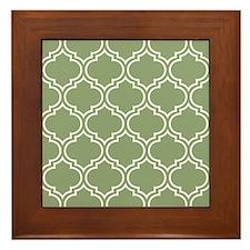 Dark Sage Green Moroccan Lattice Pattern Framed Ti