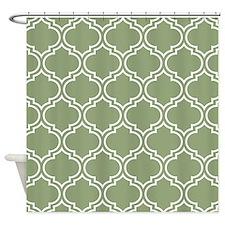 Dark Sage Green Moroccan Lattice Pattern Shower Cu