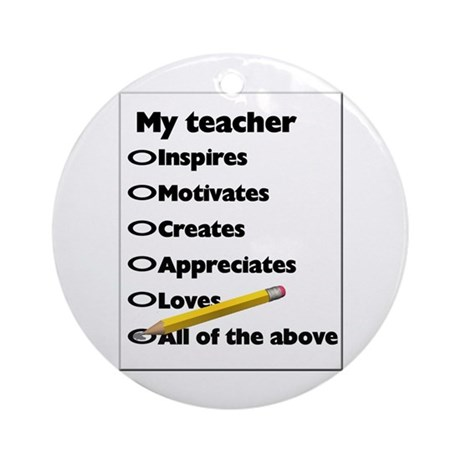 Teacher Appreciation Gifts Ornament (Round)