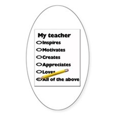 Teacher Appreciation Gifts Oval Decal