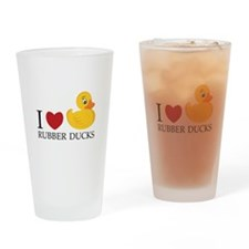 Love Rubber Ducks Drinking Glass