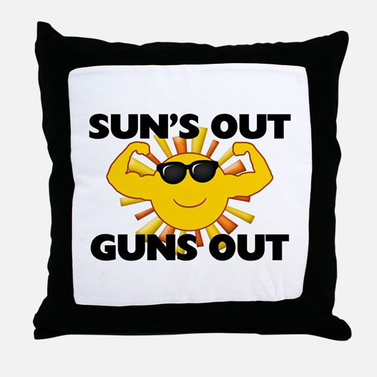 Sun's Out Guns Out Throw Pillow