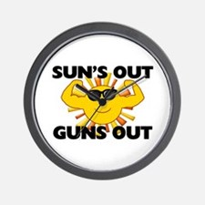 Sun's Out Guns Out Wall Clock