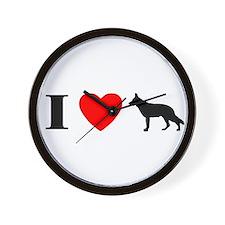 I Heart German Shepherd Wall Clock