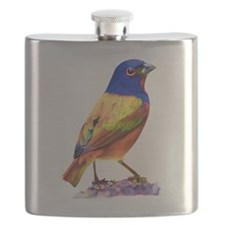 Watercolor Painted Bunting Flask