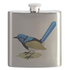 Blue Brown & Black High Tailed Song Bird Flask
