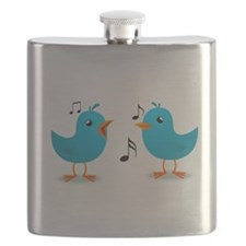 Blue Birds Serenade Flask