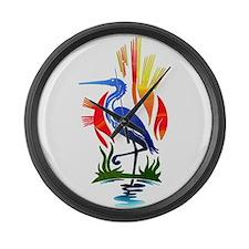 Blue Heron Sun and Marsh Large Wall Clock