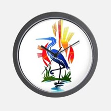 Blue Heron Sun and Marsh Wall Clock