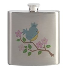 Bird on Tree Limb with Spring Flowers Flask