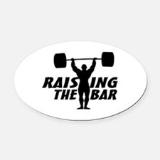Raising The Bar Oval Car Magnet