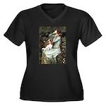 Ophelia & Cavalier Women's Plus Size V-Neck Dark T