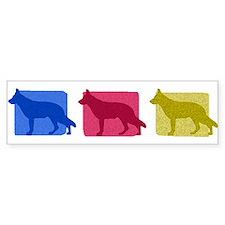 Color Row German Shepherd Bumper Car Sticker