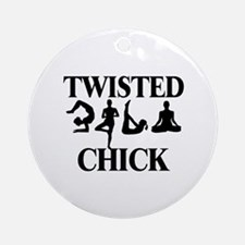 Twisted Yoga Chick Ornament (Round)