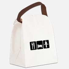 Man Eat Sleep Lift Weights Canvas Lunch Bag