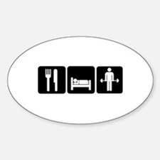 Man Eat Sleep Lift Weights Sticker (Oval)