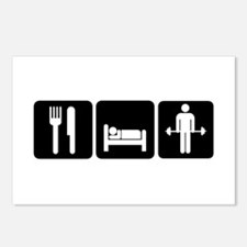 Man Eat Sleep Lift Weight Postcards (Package of 8)