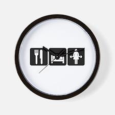 Woman Eat Sleep Lift Weights Wall Clock