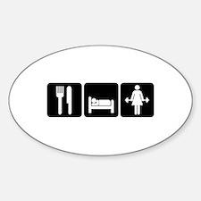 Woman Eat Sleep Lift Weights Sticker (Oval)