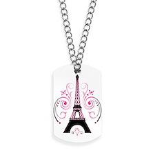 Eiffel Tower Gradient Swirl Design Dog Tags