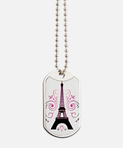 Eiffel Tower Gradient Swirl Design Dog Tags
