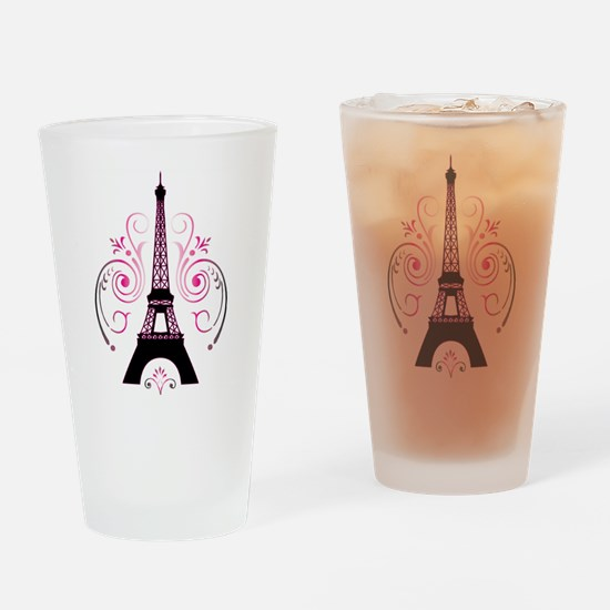 Eiffel Tower Gradient Swirl Design Drinking Glass