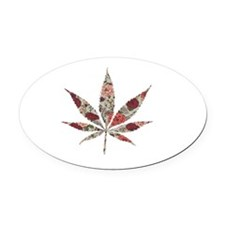 weed rose leaf Oval Car Magnet