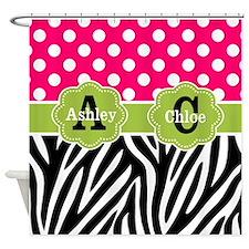 Pink Green Dots Zebra Personlaized Shower Curtain