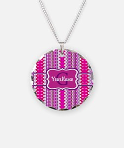 Girly Pink Tribal Chevron Mo Necklace