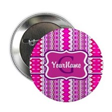 "Girly Pink Tribal Chevron M 2.25"" Button (10 pack)"