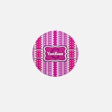 Girly Pink Tribal Chevron Monogram Mini Button