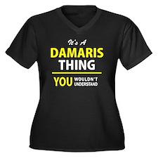 Unique Damaris Women's Plus Size V-Neck Dark T-Shirt