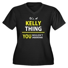 Cute Kelly Women's Plus Size V-Neck Dark T-Shirt
