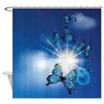 Blue Butterflies In Sunburst Shower Curtain