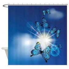 Blue Butterflies In Sunburst Shower Curtain