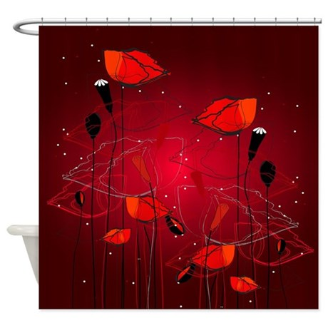 Red Poppies Shower Curtain by yergoat