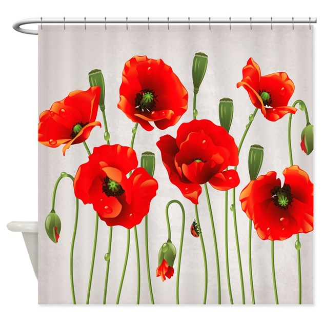 Red California Poppies Shower Curtain By Getyergoat
