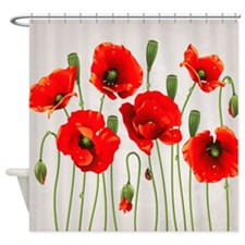 Red California Poppies Shower Curtain