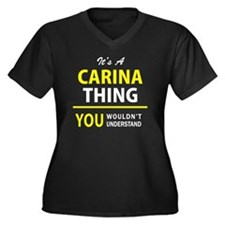 Unique Carina Women's Plus Size V-Neck Dark T-Shirt