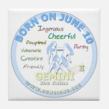 June 10th Birthday - Gemini Personali Tile Coaster