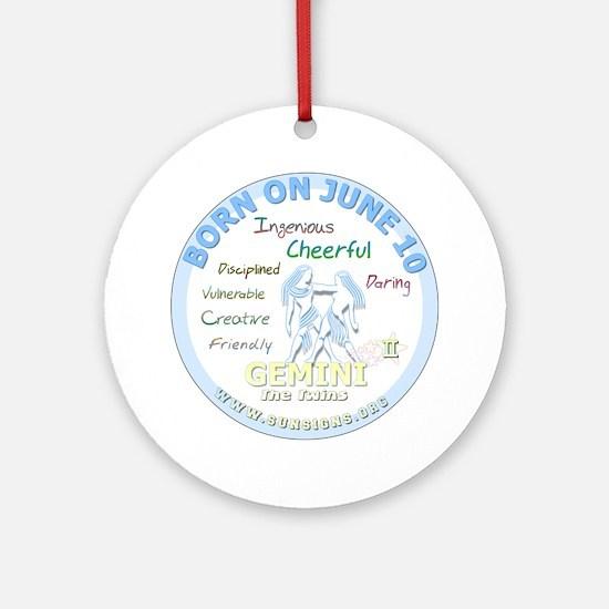 June 10th Birthday - Gemini Persona Round Ornament