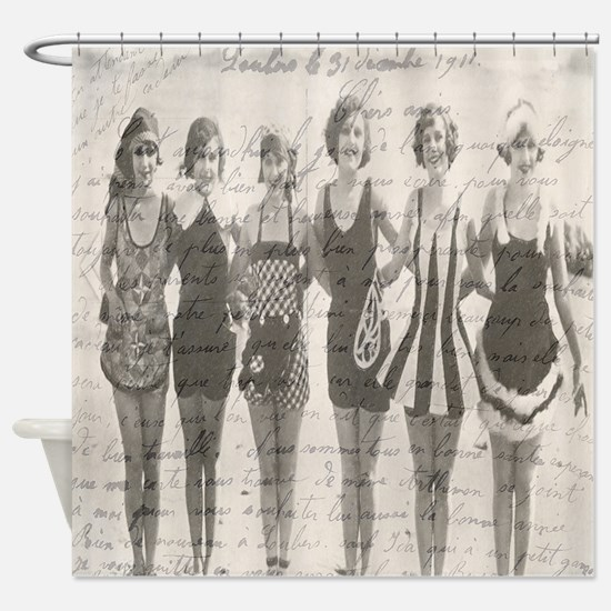 French Bathing Beauties Script Shower Curtain