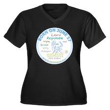 June 17th Bi Women's Plus Size V-Neck Dark T-Shirt