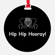 Hip Hip Hooray dark button Ornament